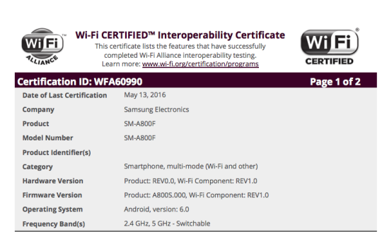 Samsung Galaxy A8 Marshmallow Update Wifi Certification