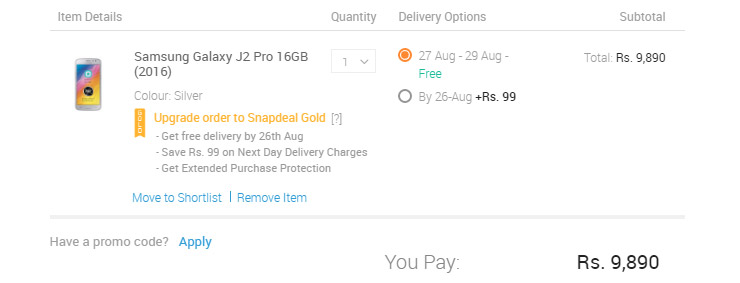 Snapdeal Gold Option Sd Fulfilled