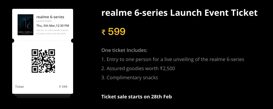 realme 6 series launch event tickets